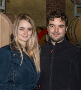 Chiara and brother Andrea in the cellar